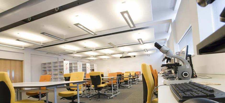 Suspended sound absorbing panels in classroom