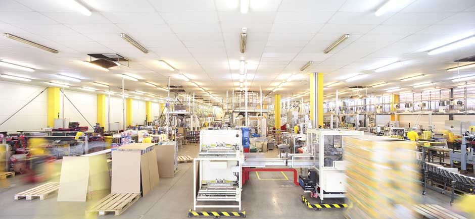 busy factory with acoustic ceiling