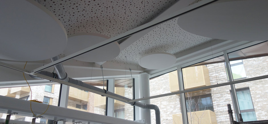handcut acoustic panels in london cafe