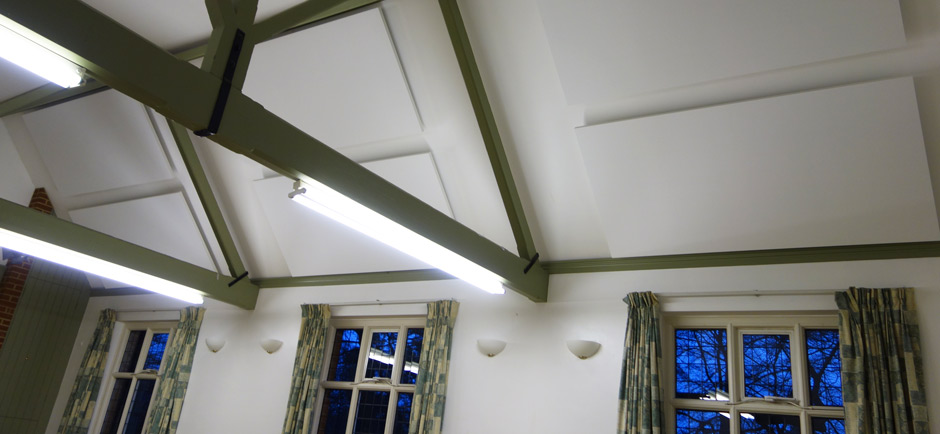 village hall with acoustic panels