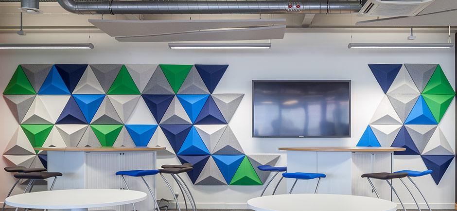 Autex 3d acoustic walls panels in office