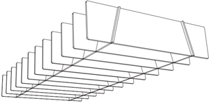 Quietspace lattice trapezium baffle