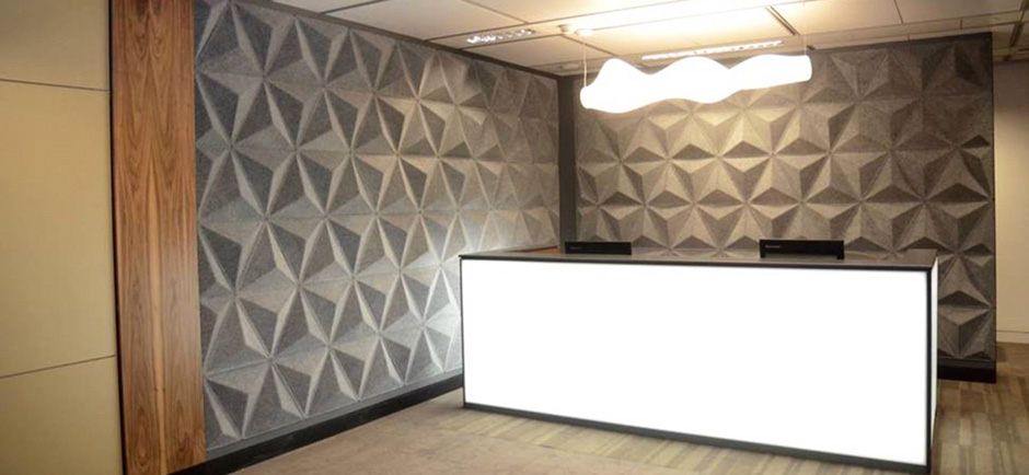 Abstracta Aircone panels on reception area wall