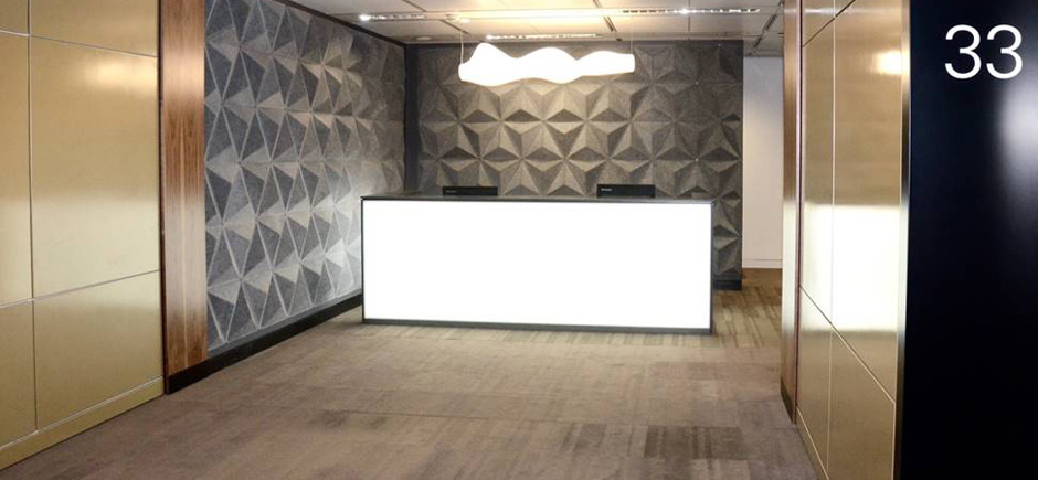 office reception area with 3D acoustic wall panelling