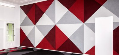 autex compositional fabric on wall
