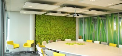 moss wall in meeting room