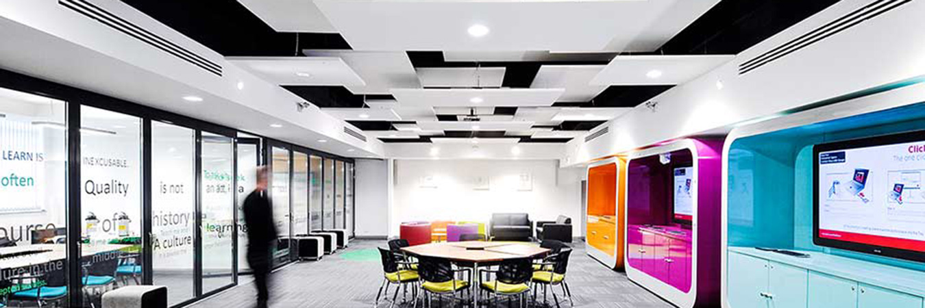 ecophon solo rectangle panels in office