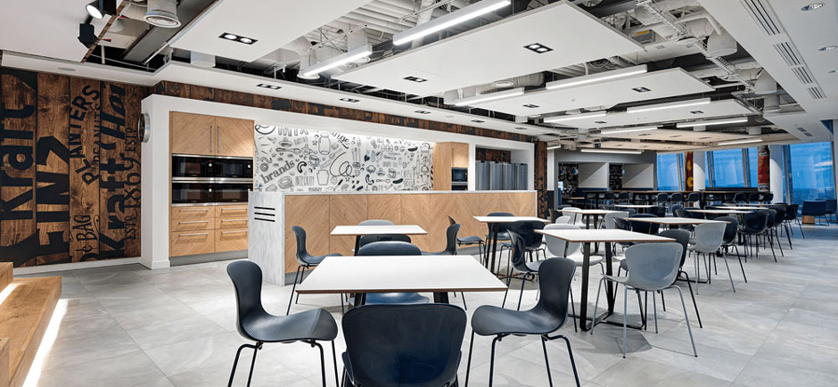 acoustic ceiling panels suspended in modern office