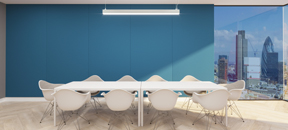 Acoustic fabric wall in office