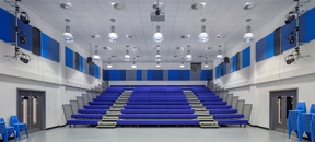 Blue acoustic wall panels