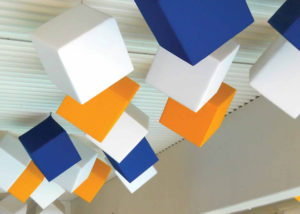 superphon cubes suspended from ceiling