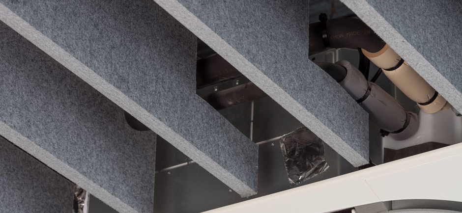 Close up of Autex acoustic baffles