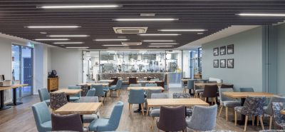 Autex acoustic baffles in restaurant