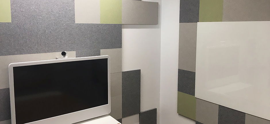 Autex cube wall in meeting room