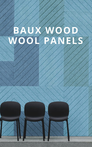 Blue baux wood wool panels