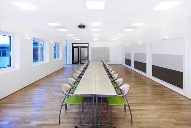 long table in modern meeting room