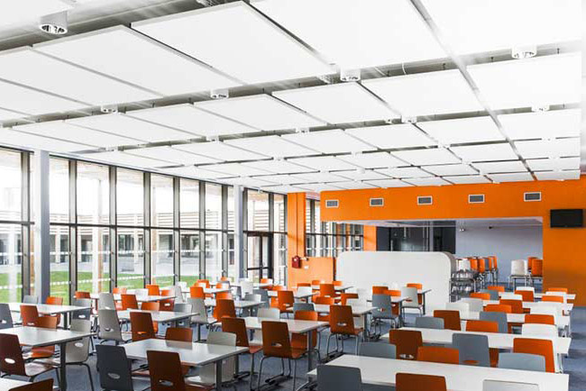 ecophon solo rectangle panels in classroom