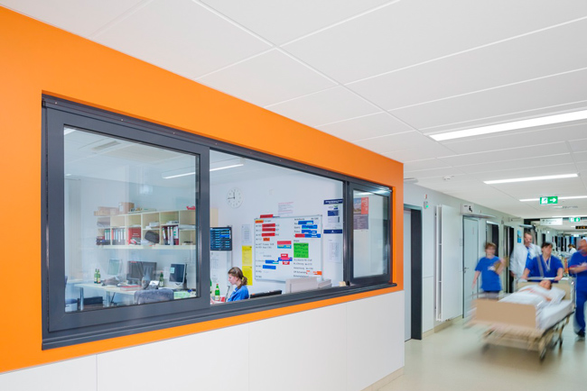 hospital corridor with acoustic ceiling panels