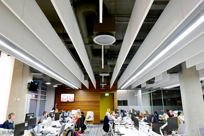 ecophon solo baffles in open plan office