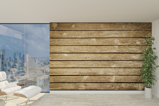printwall with wooden print