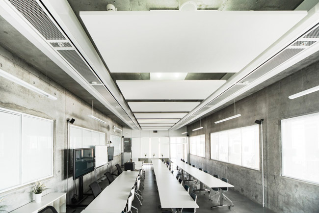 ecophon rectangle acoustic panels in modern meeting room