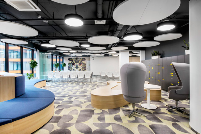 ecophon solo circle acoustic panels in break out space