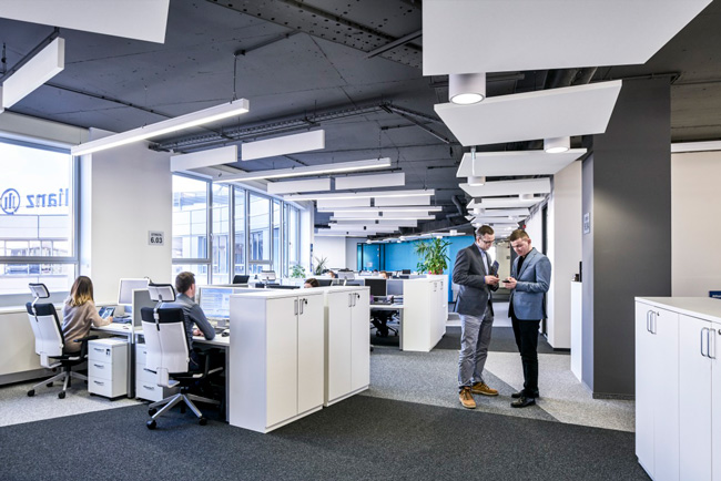 ecophon solo square acoustic panels in open plan office