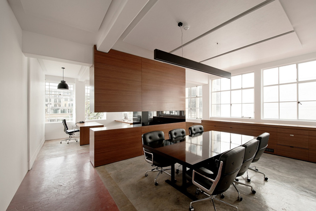 office with acoustic panelling