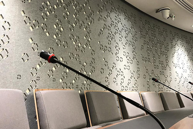 autex cube acoustic panels in auditorium