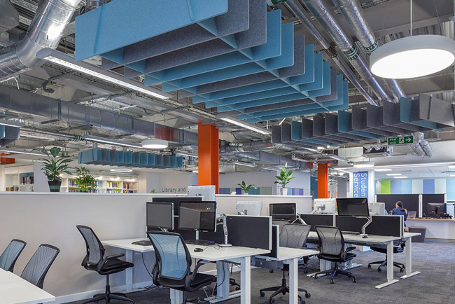 autex quitespace lattice panels in office