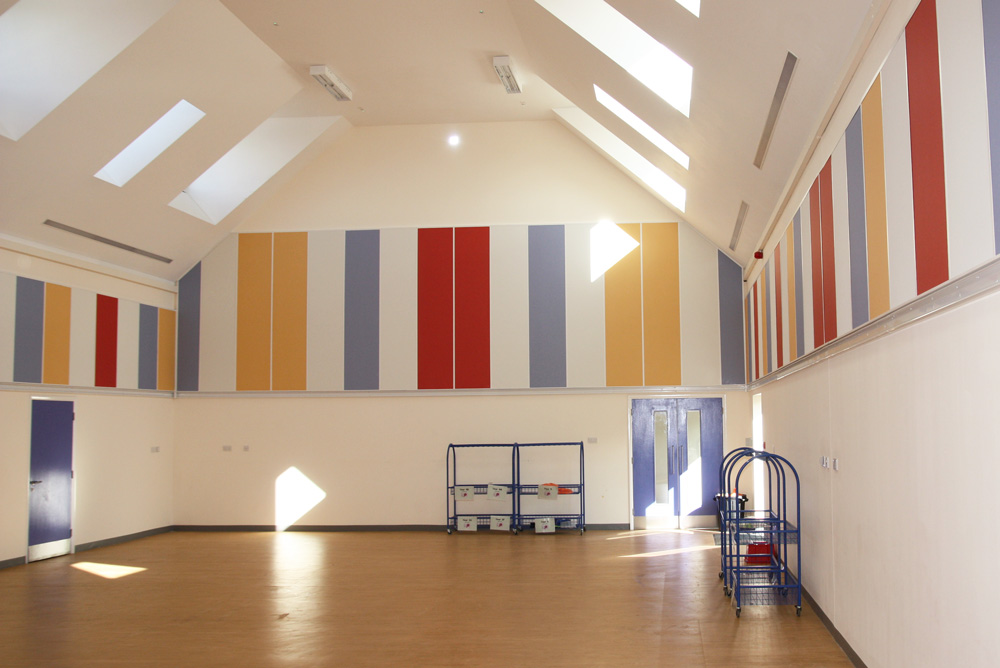 multicoloured acoustic wall panels in sports hall