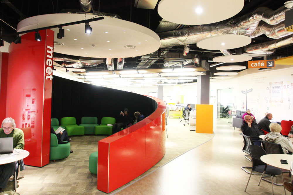 circular acoustic panels in library