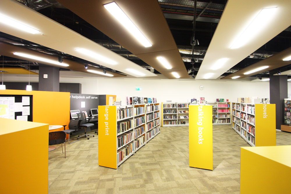acoustic ceiling panels suspended in a library