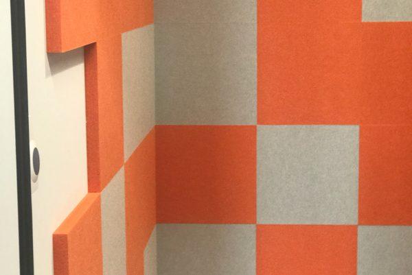 orange and grey acoustic panels