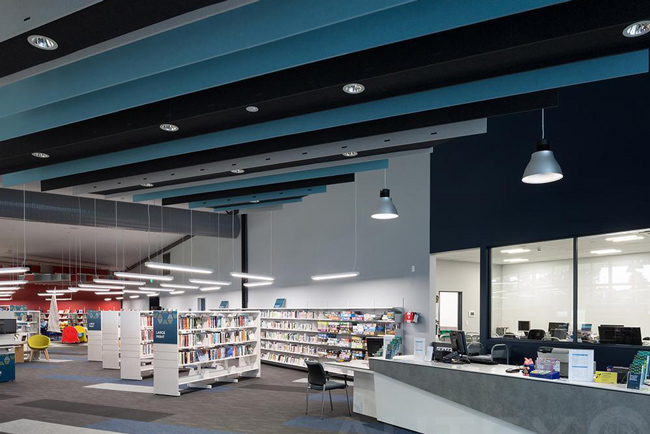 acoustic baffles in library