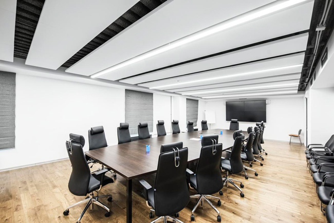 ecophon master matrix ceiling system in meeting room