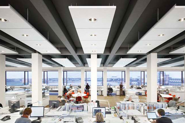 ecophon master matrix ceiling system in open office
