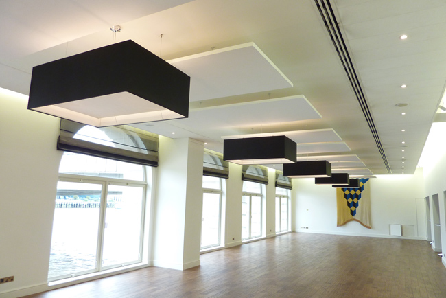 hall with acoustic ceiling panels