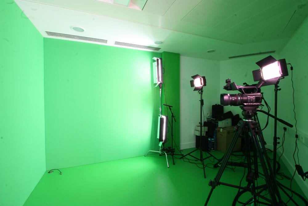 green screen in recording studio