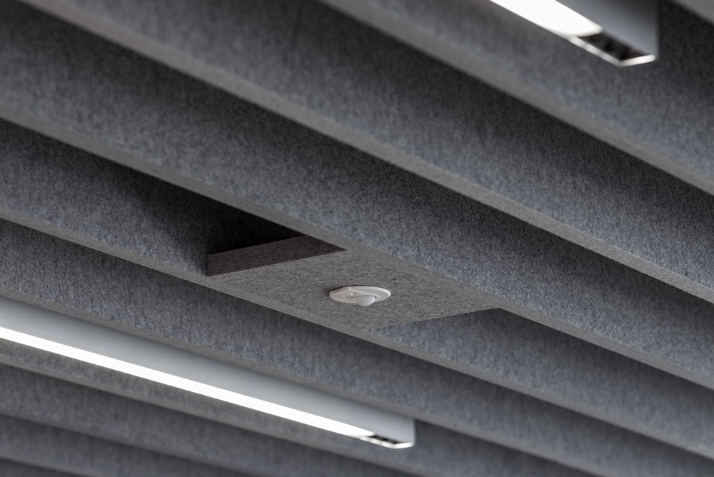 grey acoustic baffles in restaurant