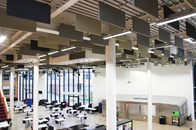 acoustic baffles in circulation space