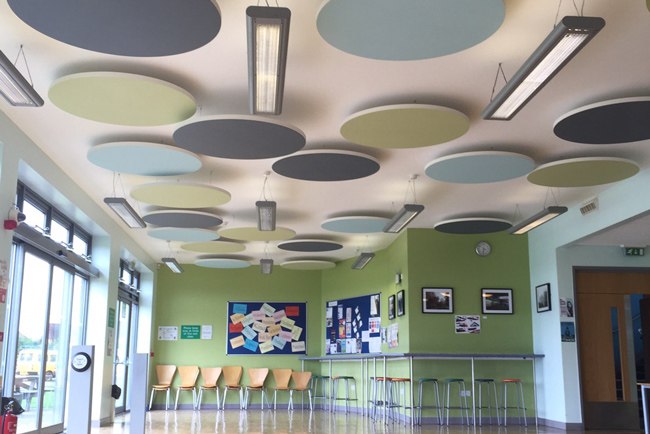 ecophon solo circle acoustic panels in school