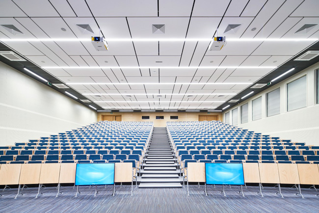 university lecture hall with ecophon panels