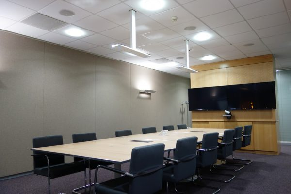 acoustic fabric wall in astrazeneca office