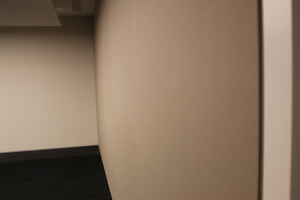 stretched fabric acoustic wall in conference room