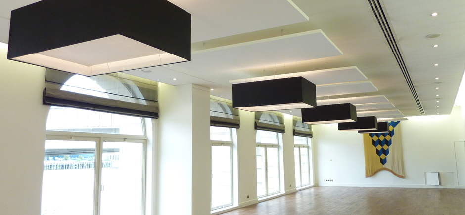 empty hall with acoustic panels on ceiling