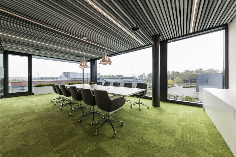 hunter douglas heartfelt panels in meeting room
