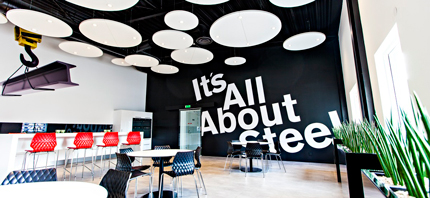 suspended acoustic panels in office