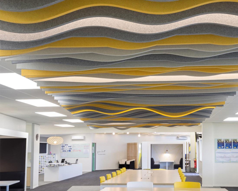 autex acoustic baffles in yellow
