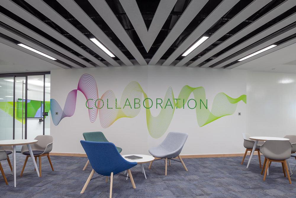 autex acoustic ceiling panels in break-out area